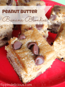Gluten-Free Peanut Butter Banana Blondies. Delicious way to use all those ripe bananas on your counter. #glutenfree #blondies #peanutbutter #bananas