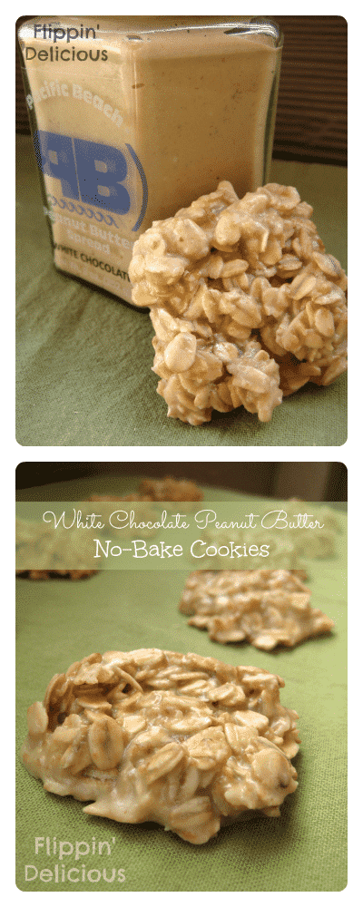 Gluten-Free White Chocolate Peanut Butter No-Bake Cookies make a quick and easy treat. Great for making with kids, or just eating by yourself.