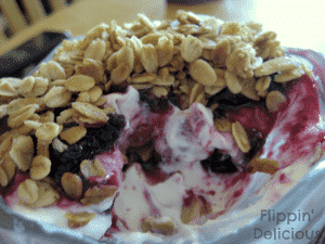 This sweet gluten-free blueberry and yogurt parfait is made with greek yogurt and Udi's gluten-free sweet and crunchy vanilla granola. It makes a fun, and nutritious breakfast, snack, or dessert.