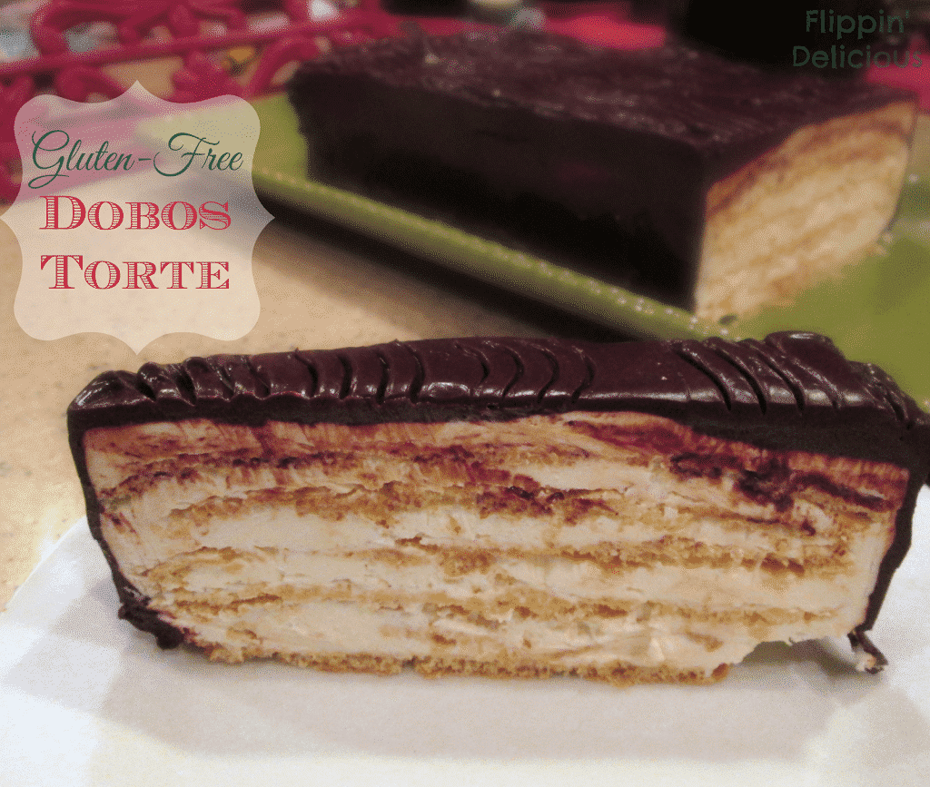 Dobos Torte is similar to a holiday yule log, but with tons more frosting layers inside. 6 or more thin layers of sponge and frosting all covered in a layer of smooth and shiny chocolate ganche. This recipe is gluten-free and is also easily made dairy-free too. I have to eat this right NOW!