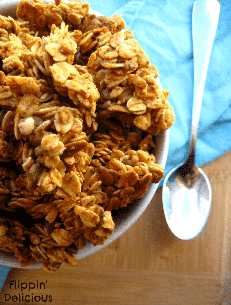 This granola is sweet, crunchy, full of caramel and just a hint of salt. Quick and easy to throw in the oven, your family will love it. Naturally gluten-free too!