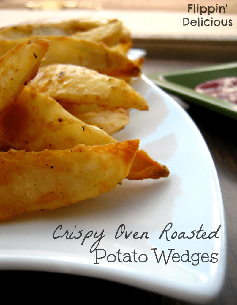 Takes only a few minutes to toss in the oven, these potato wedges are gluten-free unlike the ones you may find in the deli section of your local grocery store. Crispy  on the outside and fluffy inside, salty and just a little spicy. You won't want to share!