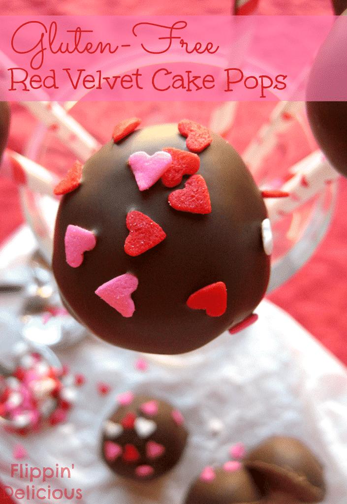 Gluten-free Red Velvet Cake Pops, made from the best cake ever. Sweet and moist red velvet cake enveloped in crunchy chocolate, and SPRINKLES! www.flippindelicious.com