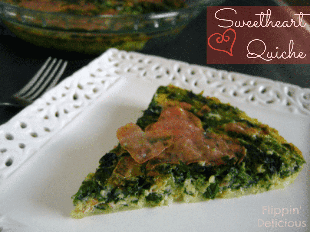 Sweetheart quiche is a great way to make any day a little bit more special. Gluten-free quiche lined with Swiss cheese instead of crust, filled with spinach and little hearts of ham or turkey make this an easy and fun dinner that you feel good feeding to your family.